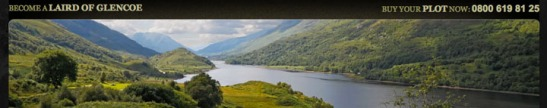 """Own a wee part of Scotland"" image from Highland Titles website"