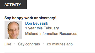 LinkedIn Happy Work Anniversary message