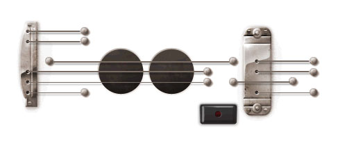 Google Doodle for the inventor of the electric guitar, Les Paul. Interactive logo plays guitar.