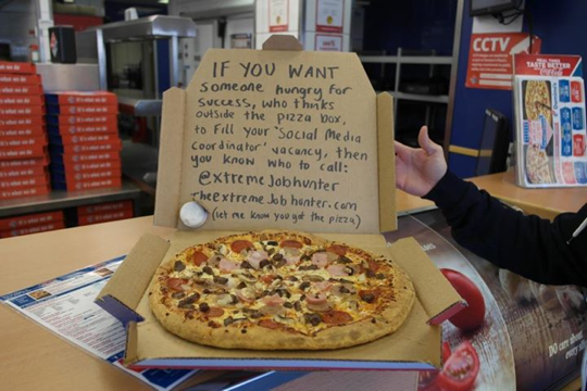 The pizza bribe stunt to get hired