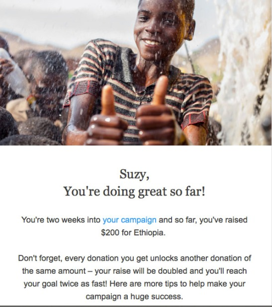 Two weeks into the campaign, a follow up email from charity: water